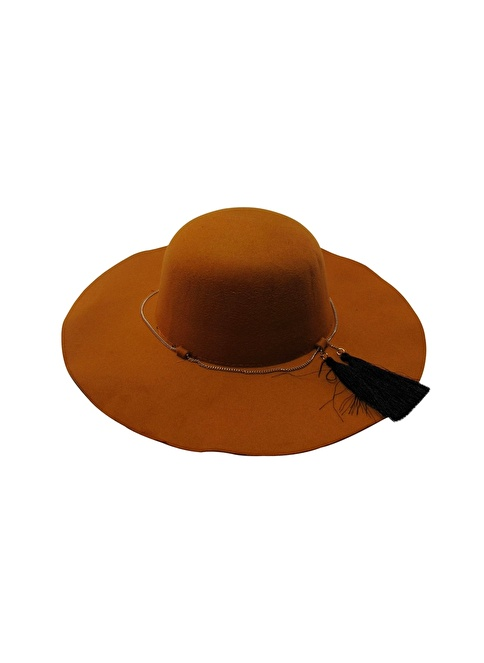 Laslusa İçten Ayarlanabilir Keçe Geniş Kenar Şapka Oranj
